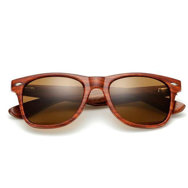 f6756ab4aaa34 2019 Lunettes de soleil Homme   Femmes lunettes de soleil Lunettes  d aviateur effet miroir Grain de bois imitation Marron