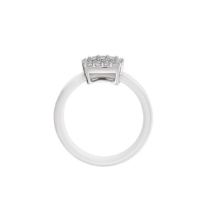 Mes-bijoux.fr - Bague Femme en Céramique Blanche et Argent 925-1000- 7BJ6131WAgv_60