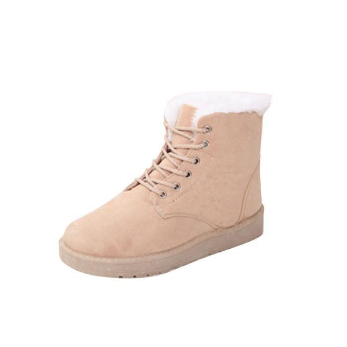 Up Femme Chaussures Lined Bottes Fur Mode Bottines Neige beige Seasondu Plates Dentelle De D'hiver UY5xHzxwq