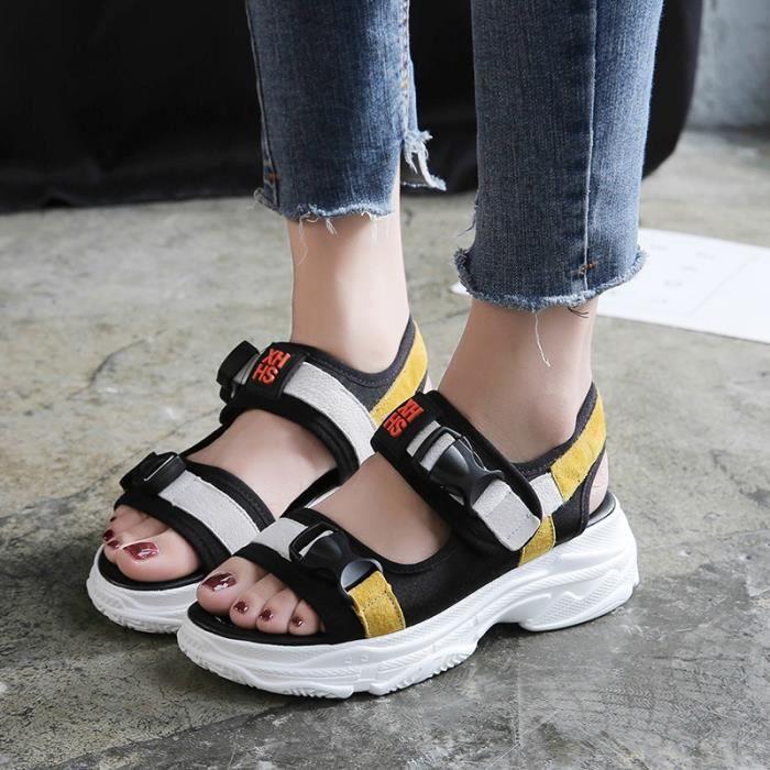 Jaune Épaisses De À Sandales Xz3012 Femme Jyg Semelles Chaussures Iybf6v7Yg