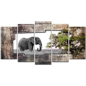 TABLEAU - TOILE Tableau Déco Photo Elephant dans la Savane - 150x8