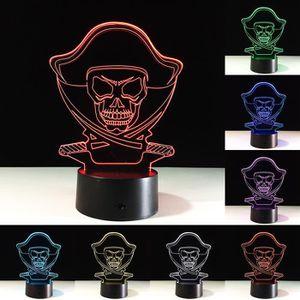 Coloré Cadeau De Enfants 3d Led Lumières Lampe Pour Nuit Usb Table Illusion Tactile Hologramme Bureau Crâne Tête gb6fyY7