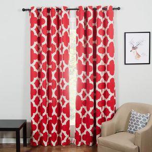 double rideaux a motifs rouge achat vente double rideaux a motifs rouge pas cher cdiscount. Black Bedroom Furniture Sets. Home Design Ideas