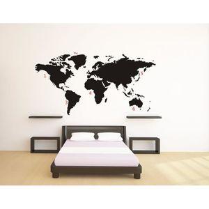 stickers muraux carte du monde achat vente pas cher. Black Bedroom Furniture Sets. Home Design Ideas