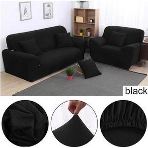 HOUSSE DE CANAPE Housse de canapé 195~230CM,3 places,noir,clic exte