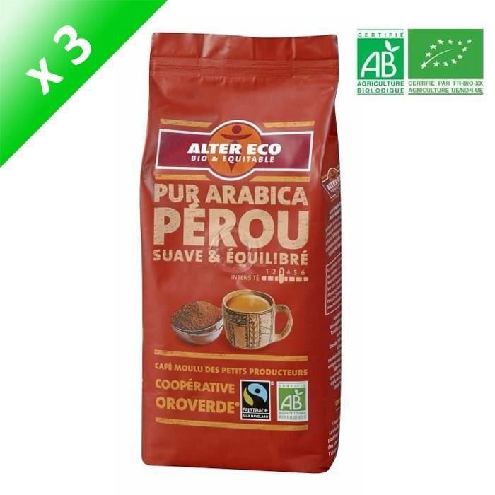 ALTER ECO Café Pérou 100% Arabica Bio 260g X6