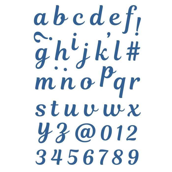 Métal - Compatible : Cut-it-All®, décoratrice® et machines de découpe - Hauteur des lettres : 2 cmGABARIT DE DECOUPE