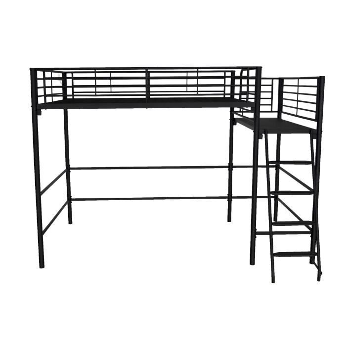 alexy lit mezzanine avec plate forme 140x200cm noir paillet achat vente lit mezzanine alexy. Black Bedroom Furniture Sets. Home Design Ideas