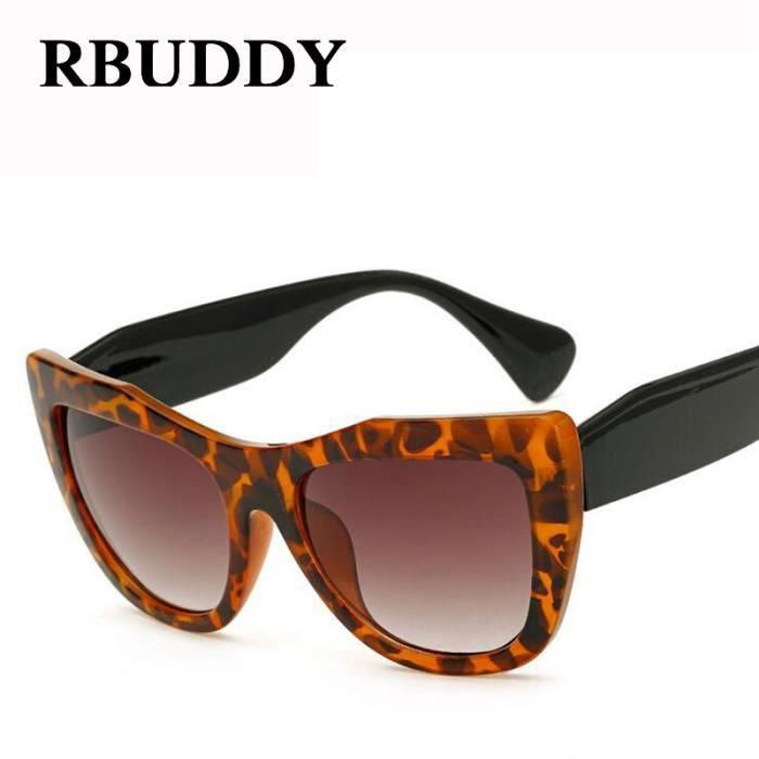 RBUDDY lunettes de soleil Cat eye femmes concepteur de marque Leopard sexy clair lunettes de soleil surdimensionnées Lunettes dames