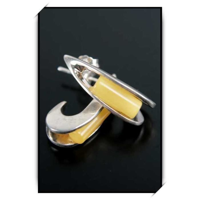 Boucles doreilles ambre argent puce femme BOM12