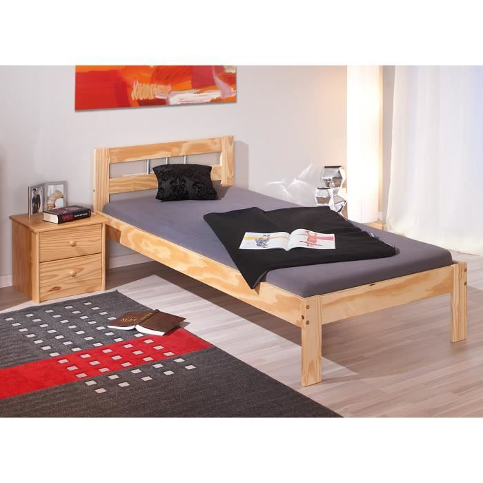 lit 1 place 90 x 200 cm en bois pin massif achat vente lit complet lit 1 place 90 x 200 cm. Black Bedroom Furniture Sets. Home Design Ideas