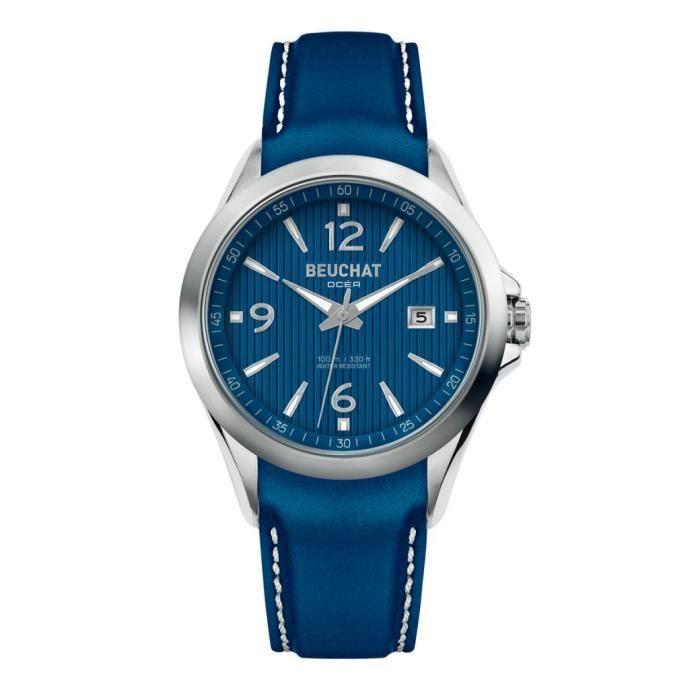 73db90ebbe Homme Bleu Beu010091 42mm Beuchat Montres 80vmwNn