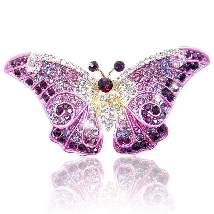 Ever Faith-Cristal Autrichien Art Nouveau Mignonne Papillon Broche-Violet-Plaqué Or A05064-7