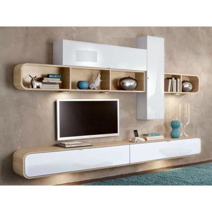 composition murale tv cobra design blanche et ch ne. Black Bedroom Furniture Sets. Home Design Ideas