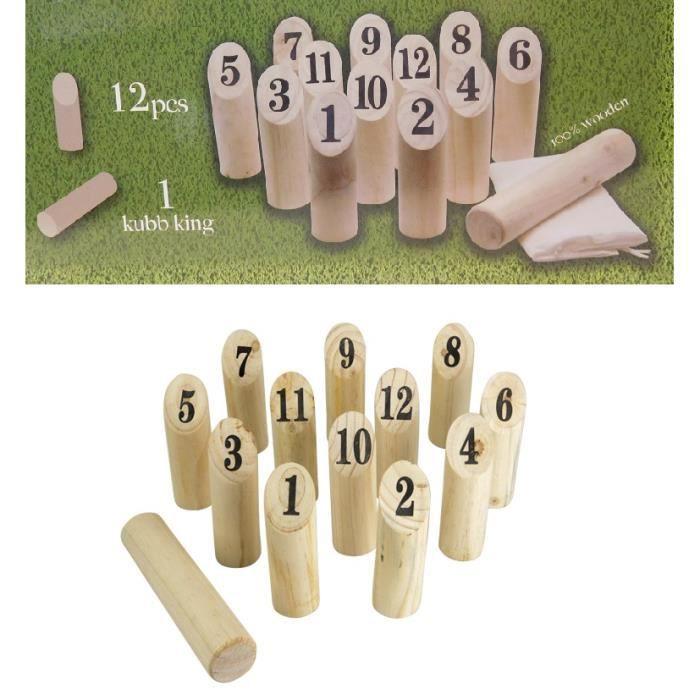 kubb game 15pcs - quille en bois avec numero - jeux jouet enfant