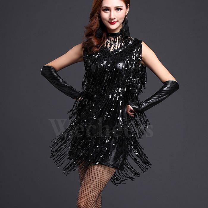 Femme Mode Robe De Danse Latin Paillettes Frang...