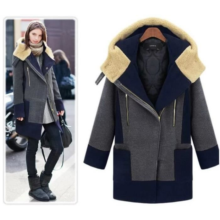 bas prix f3696 f9226 Européen Mode Grande Taille Manteau de Laine Pa... Gris ...