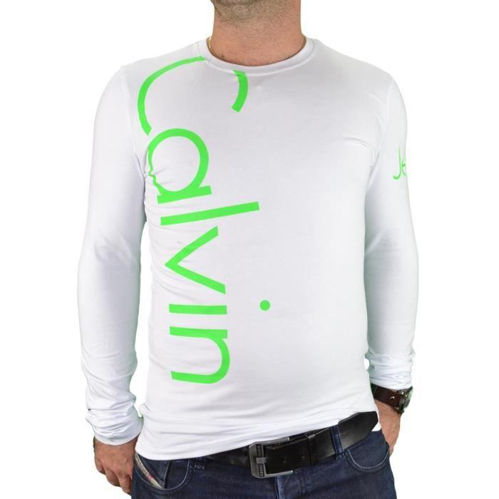 e06be68a263 Calvin Klein - T Shirt Manches Longues - Homme - Cmp53u - Blanc Vert Fluo
