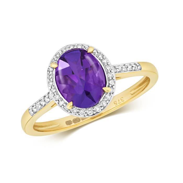 Bague Femme Pavage Or 375-1000 et Diamant Brillant 0.12 Carat avec Améthyste 37388