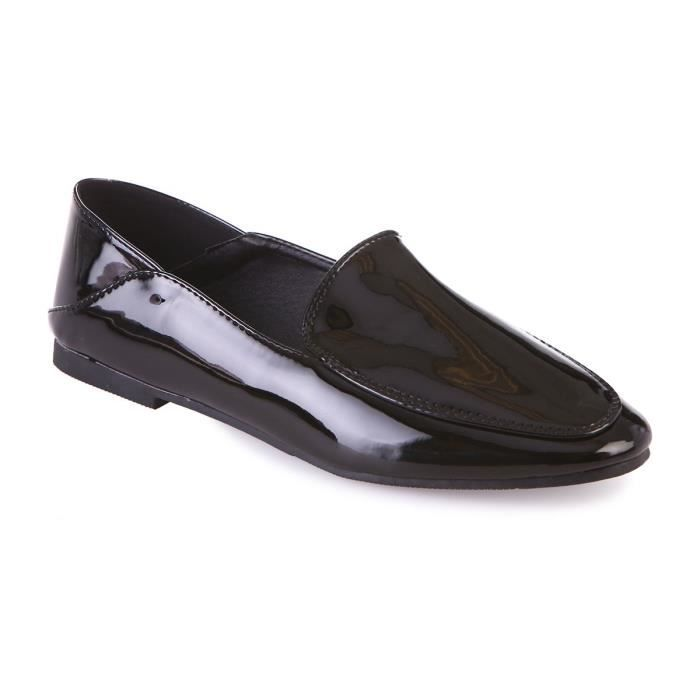 MOCASSIN Slippers vernis noirs-36