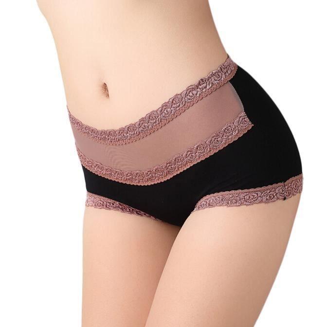 Taille Fille Dentelle Haute En Coton Culottes Noir Sous Free Underpa vêtements Femmes Slip Évider Rgpxp4U