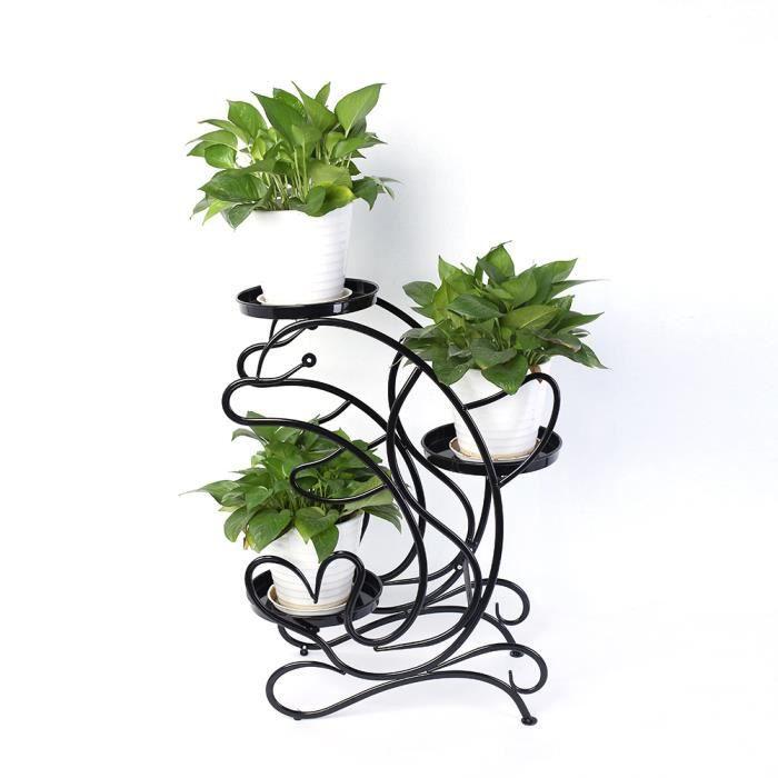 PETIT MEUBLE RANGEMENT  Jardinière   -Noir 3 Niveaux Support Fleurs Plante