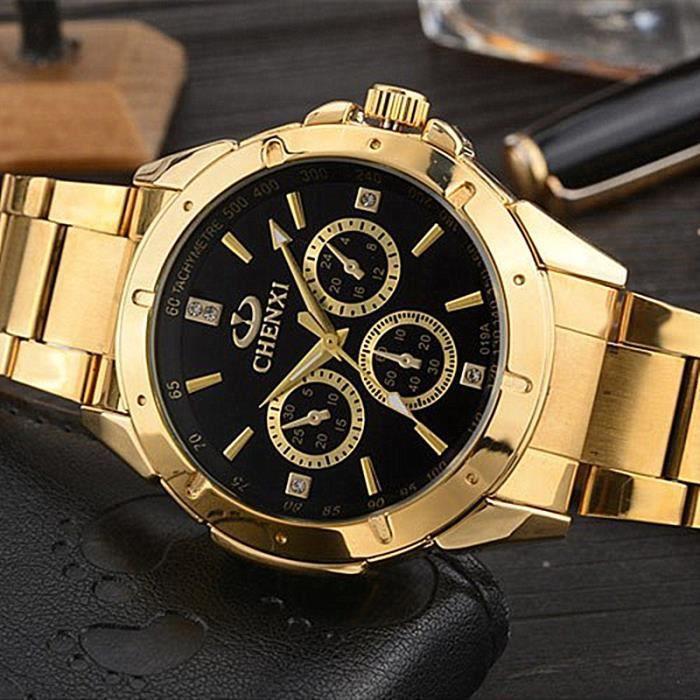 Fabuleux Montres En Quartz Hommes Montres-Bracelets En Or Horloge Masculine  OG66