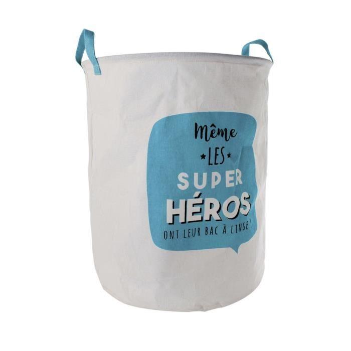 c041a135a567c Panier à linge enfant Super Héros - Diam. 40 cm - Bleu - Achat ...