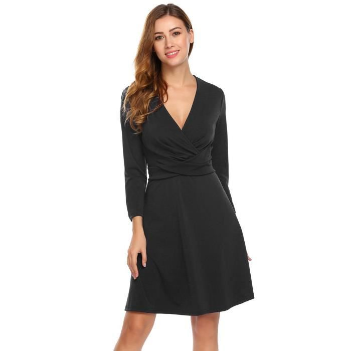 Rpbe Femmes Sexy Deep V-cou manches longues Solid A Line