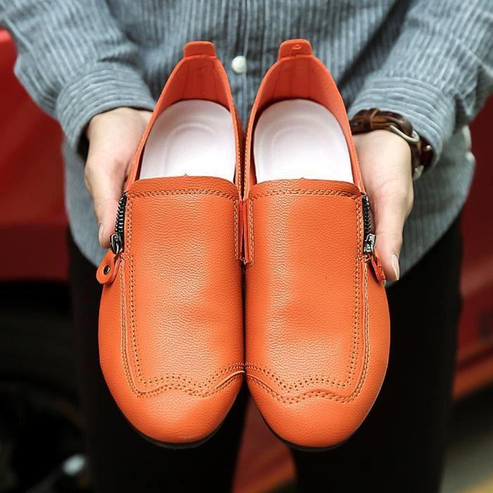 Peu Orange Rond Profond Talon Couture Chaussures Bouche Solide En Cuir Bout Ljj80608874or Hommes De Couleur Plat 0q6xgpTAnw