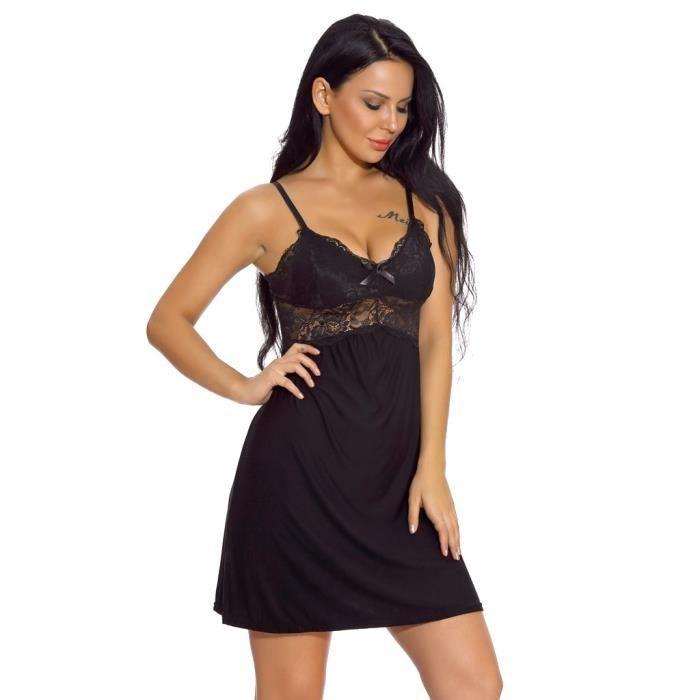 Noir Pyjama Dentelle Babydoll Chemises De neck Nuit Modal V Lingerie Nightgown Femmes UCqSPwq