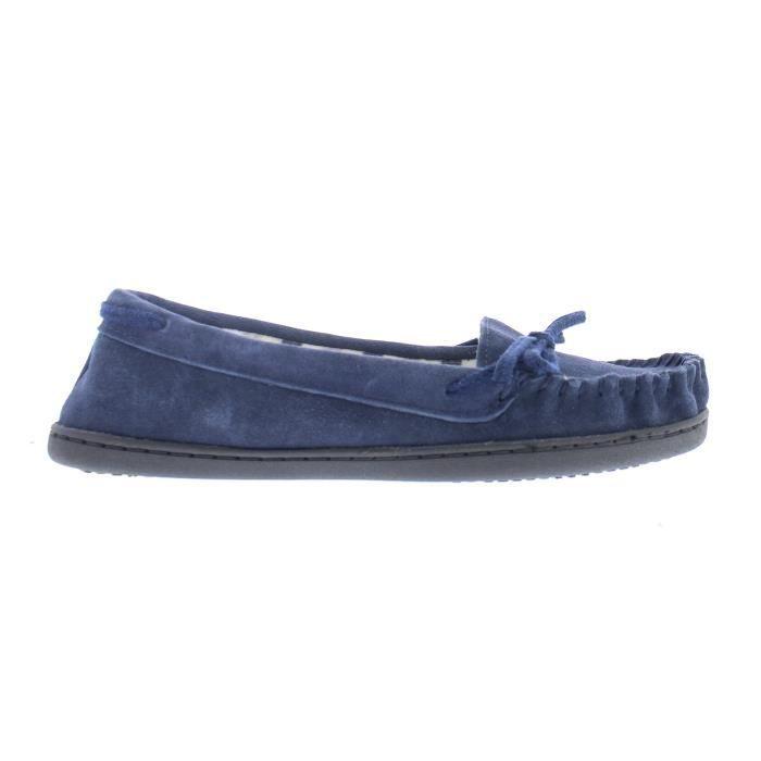 Premier Kierra suède véritable rayé doublure en polaire Slip On causales Moccasin Slipper Chaussures B4D2Y Taille-M