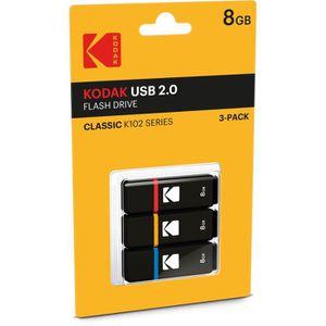 CARTE MÉMOIRE KODAK K100 Pack de 3 Clés USB 2.0 - 8 GB - Noir