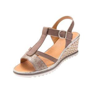 Mercante di Fiori, sandale en cuir brillant et tissu pois couleur noire, talon 4 cm., Semelle intérieure en cuir rembourrée et