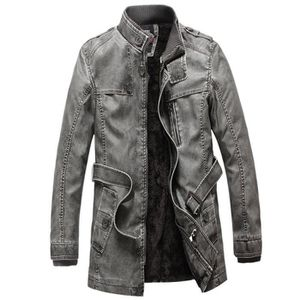 Veste cuir longue 3//4 homme fermeture diagonale ceinture biker moto avec protections CE renforts