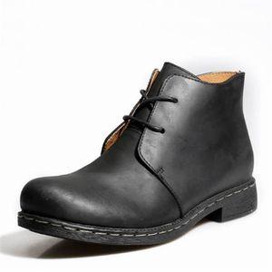 BOTTE Boots Bottes en Cuir Uni Homme Vintge Chaussures à