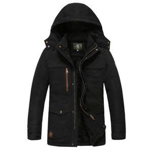 a43c403375d9 Blouson de ski à capuche homme coton men pardessus chaud en velours manteau  d hiver renforcé zip Veste pour homme