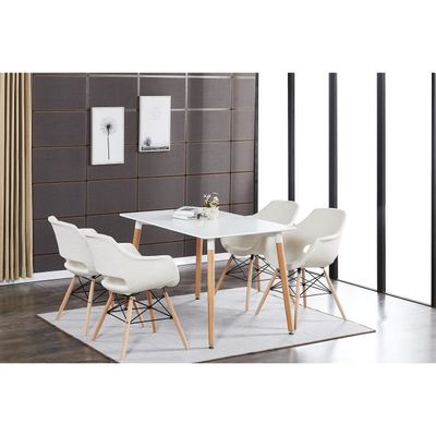 Table à Manger Blanche + 4 Chaises Beiges en Tissu Olivia - Salle à ...