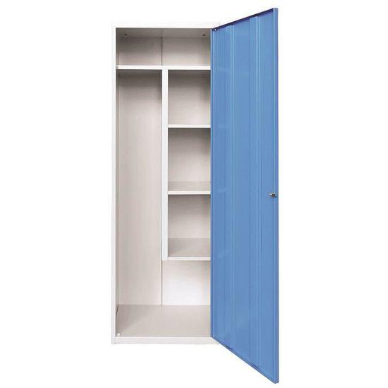 Armoire monobloc rangement aspirateur - dimensions   L 600 x P 490 x H 1800  mm - coloris corps gris portes bleues 3940e9cd21c
