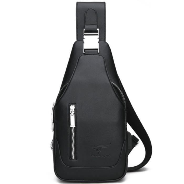 9624c7d354 Cool Sac à bandoulière en cuir Sling Chest Sac à bandoulière Business Sac à  dos à plusieurs poches Casual Crossbody Bag Noir