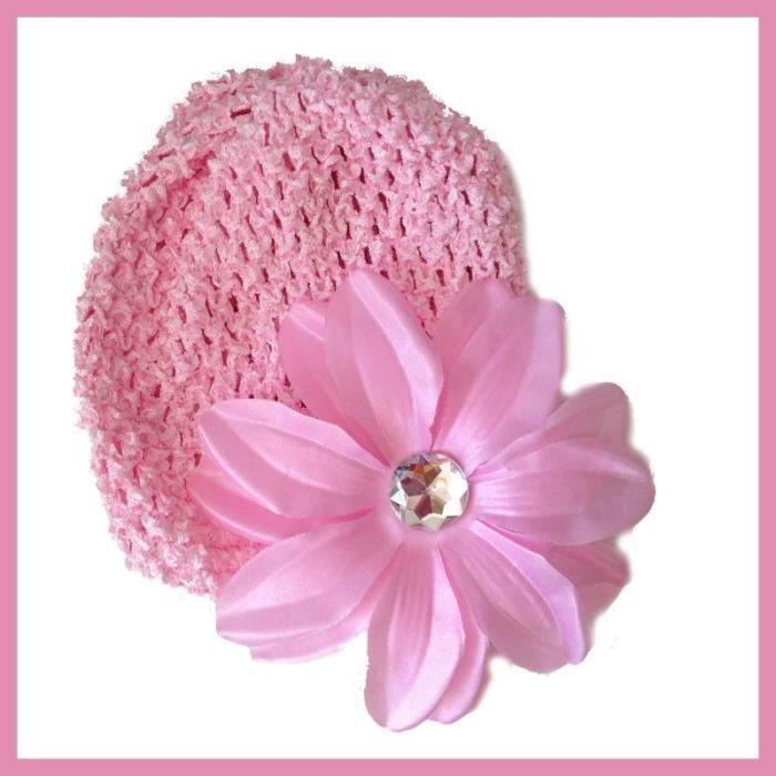 20b8e2c1a1d Rose - Rose Bonnet + fleur tropicale bébé 0 à 18 mois Rose - Achat ...