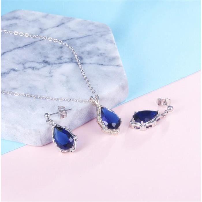 Sapphire gouttelettes platinum boucles doreilles modèles de tempérament modèles féminins boucles doreilles