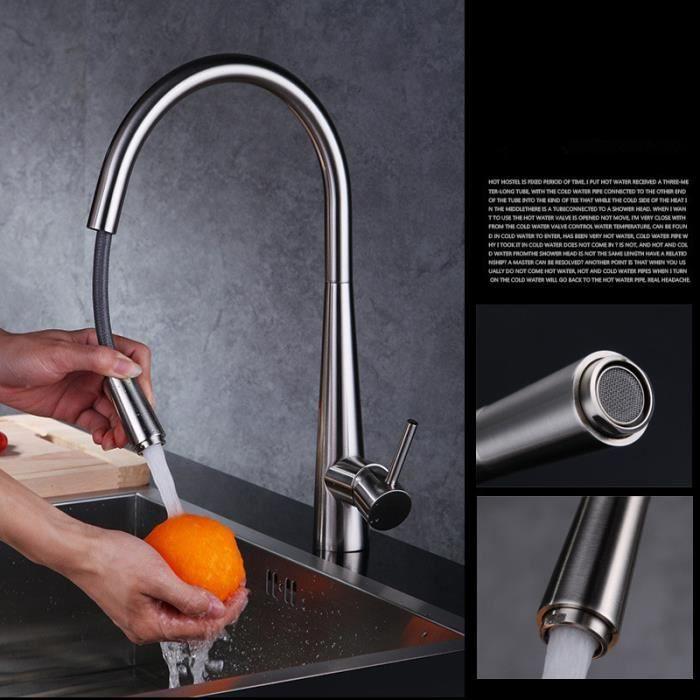 Robinet de cuisine achat vente robinet de cuisine pas cher cdiscount - Mitigeur cuisine avec douchette pas cher ...