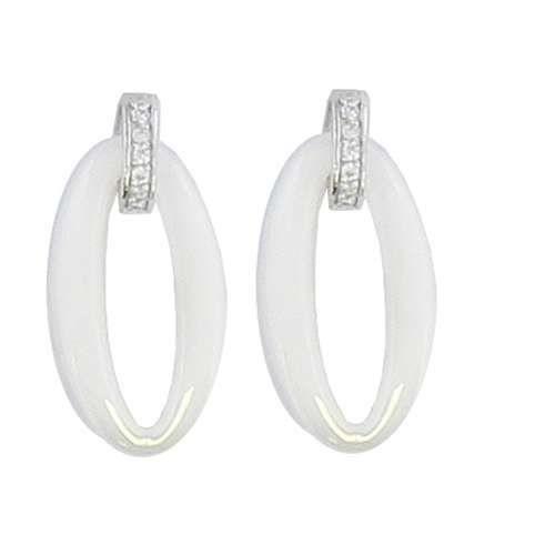 SF Bijoux - Boucles doreilles argent 925/1000e OZ céramique blanche ovale(1,20 g) - (101620)