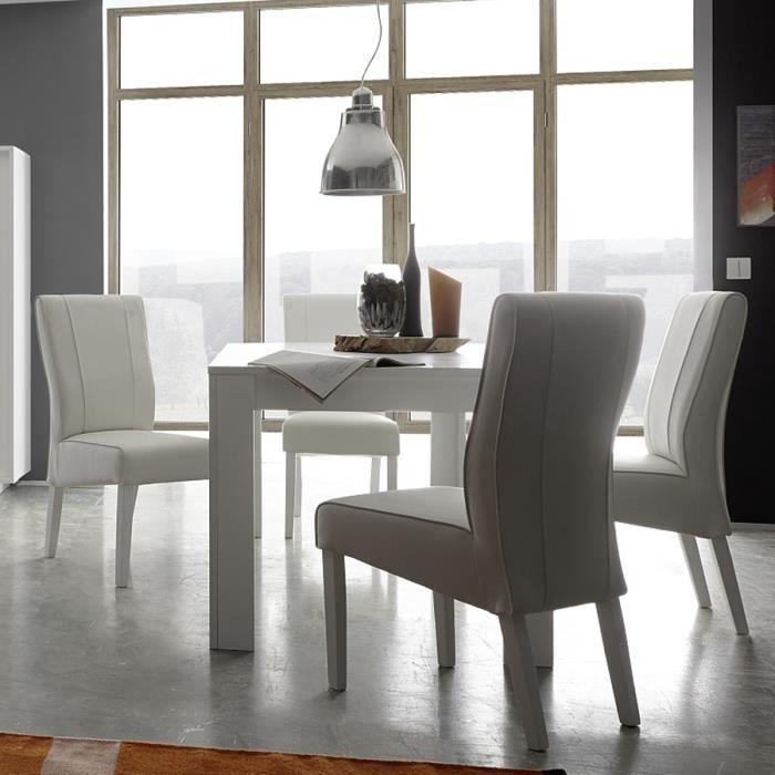 Table à manger blanc laqué mat design PACOME L 137 cm Avec rallonge ...