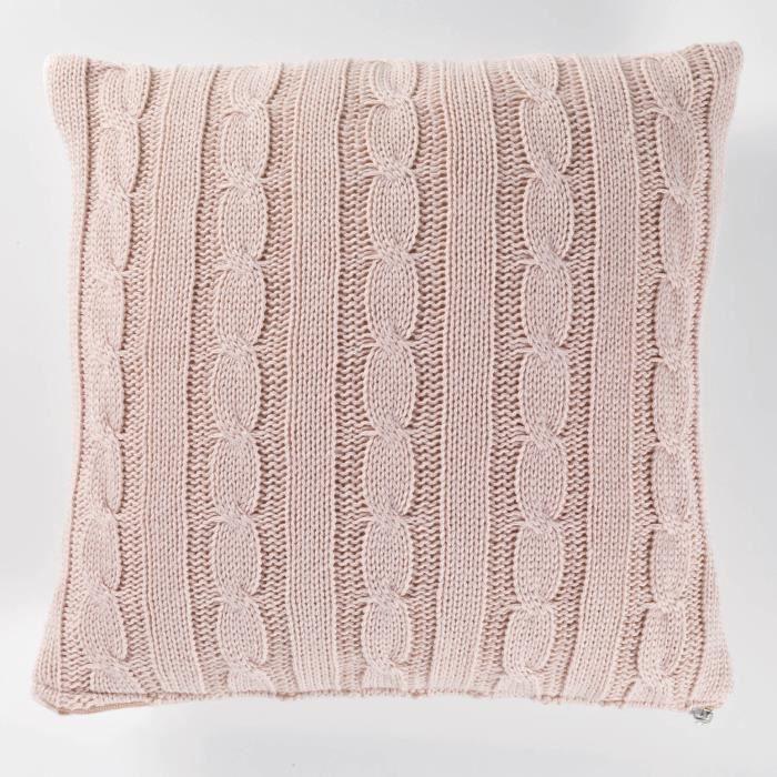 Housse de coussin +encart 40 x 40 cm tricot lainy Rose   Achat