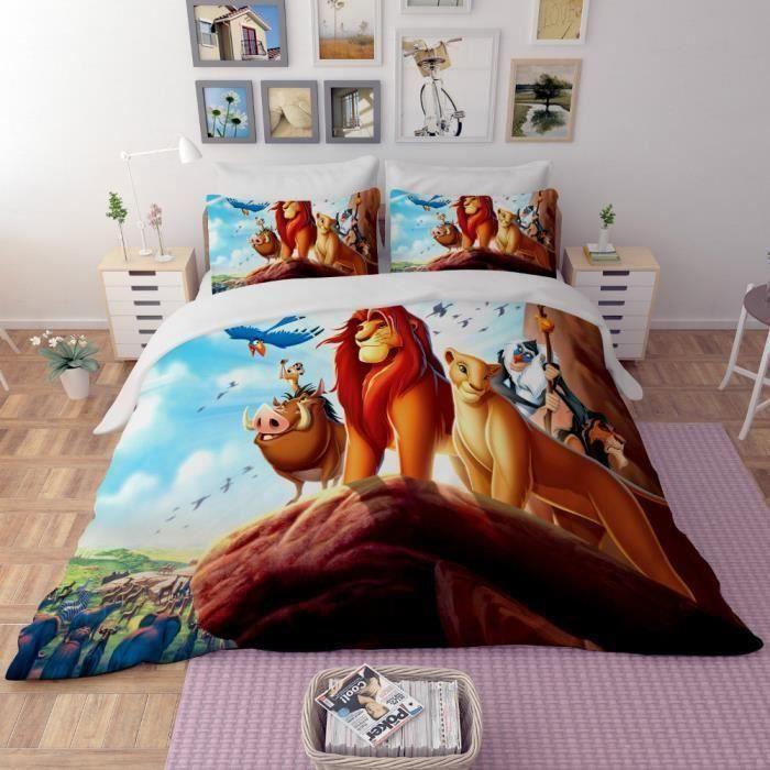 HOUSSE DE COUETTE SEULE Parure de lit Le Roi Lion 3D effet 160*210cm 3 pie