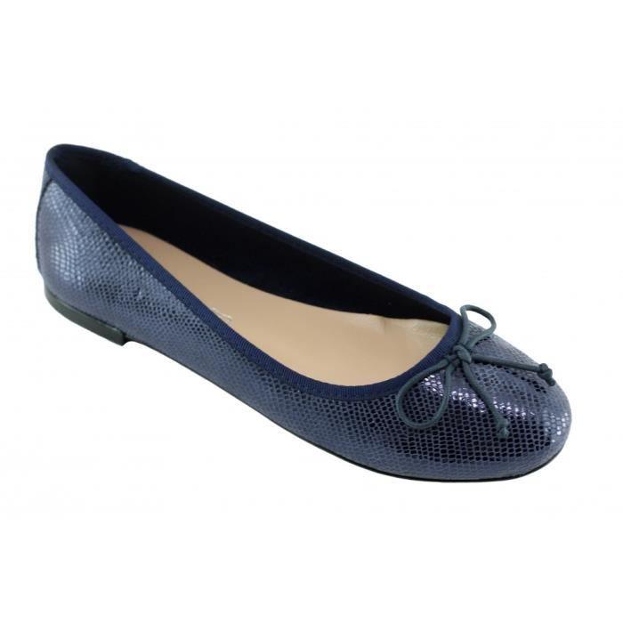 Abygaelle - Chaussure Femme ballerine en cuir de qualité fabriquée en Europe Espagne marque Angelina cuir bleu