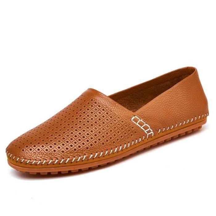chaussures homme Confortable perforé En Cuir Marque De Luxe Moccasins Grande Taille Nouvelle Mode 2017 ete Loafer hommes Cuir Haut DkKRVRoZCS