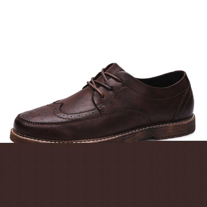 JOZSI Chaussures Hommes Cuir Qualité Supérieure Respirant Homme chaussure de ville SHT-XZ204Rouge38